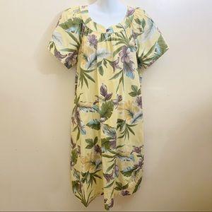 Tori Richard Honolulu Floral Yellow Green Dress L
